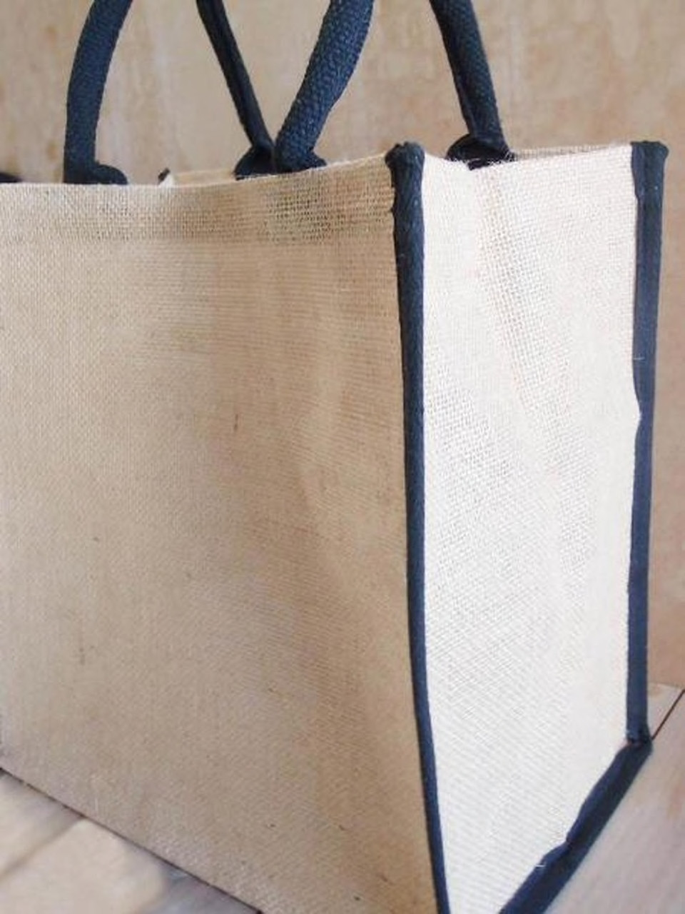 Wholesale Tote Bags, Burlap Tote Bags, Jute Tote with Black Cotton Trim 12 x 12 x 7 3/4 inches, B875-79 | Packaging Decor