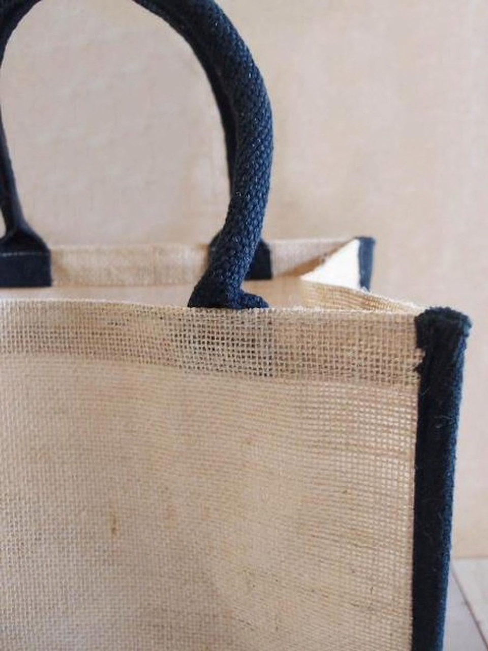 Wholesale Burlap Tote Bags, Jute Tote Bag with Black Cotton Trim 12 x 12 x 7.75 inches, B875-79