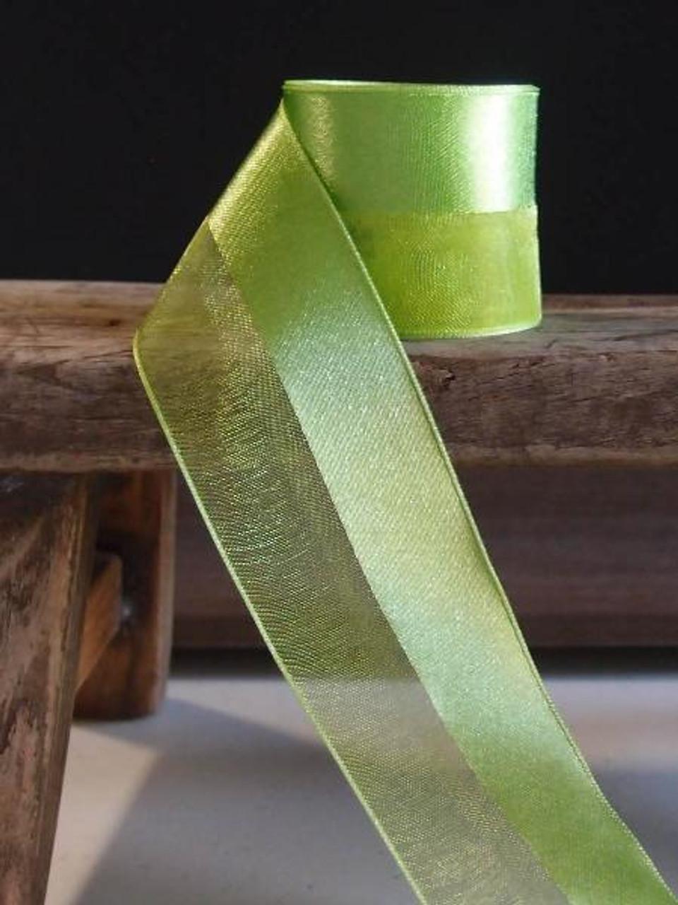 Mint Half Sheer Half Satin Ribbon (2 sizes)