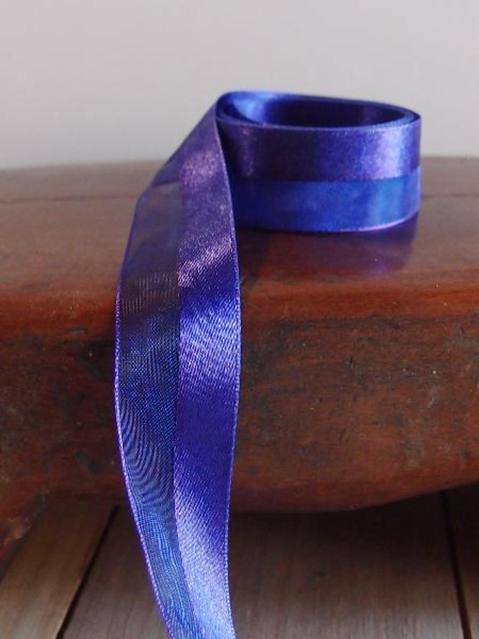 Violet Half Sheer Half Satin Ribbon (2 sizes)