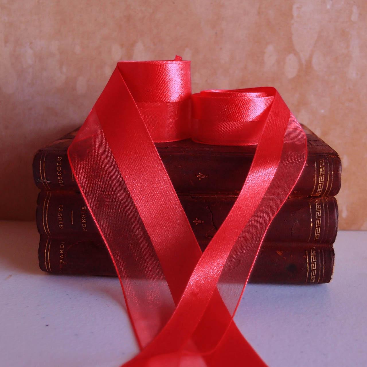 Red Half Sheer Half Satin Ribbon (2 sizes)