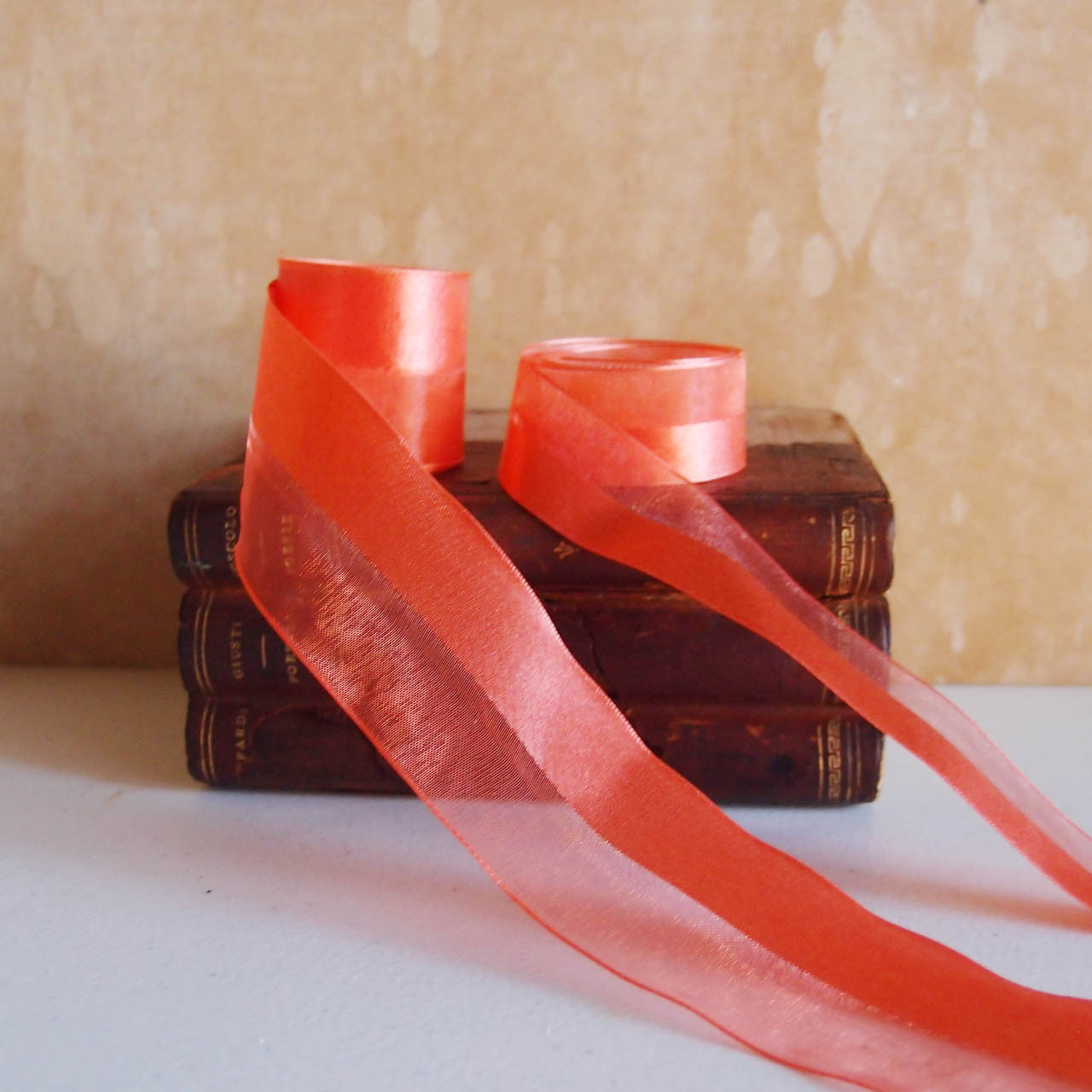 Orange Half Sheer Half Satin Ribbon (2 sizes)