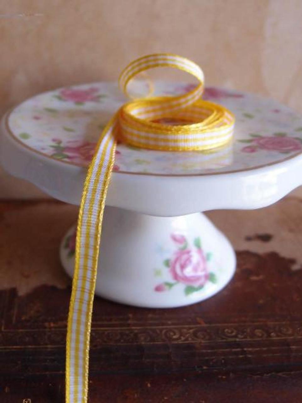 Yellow & White Gingham Checkered Ribbon (2 sizes)