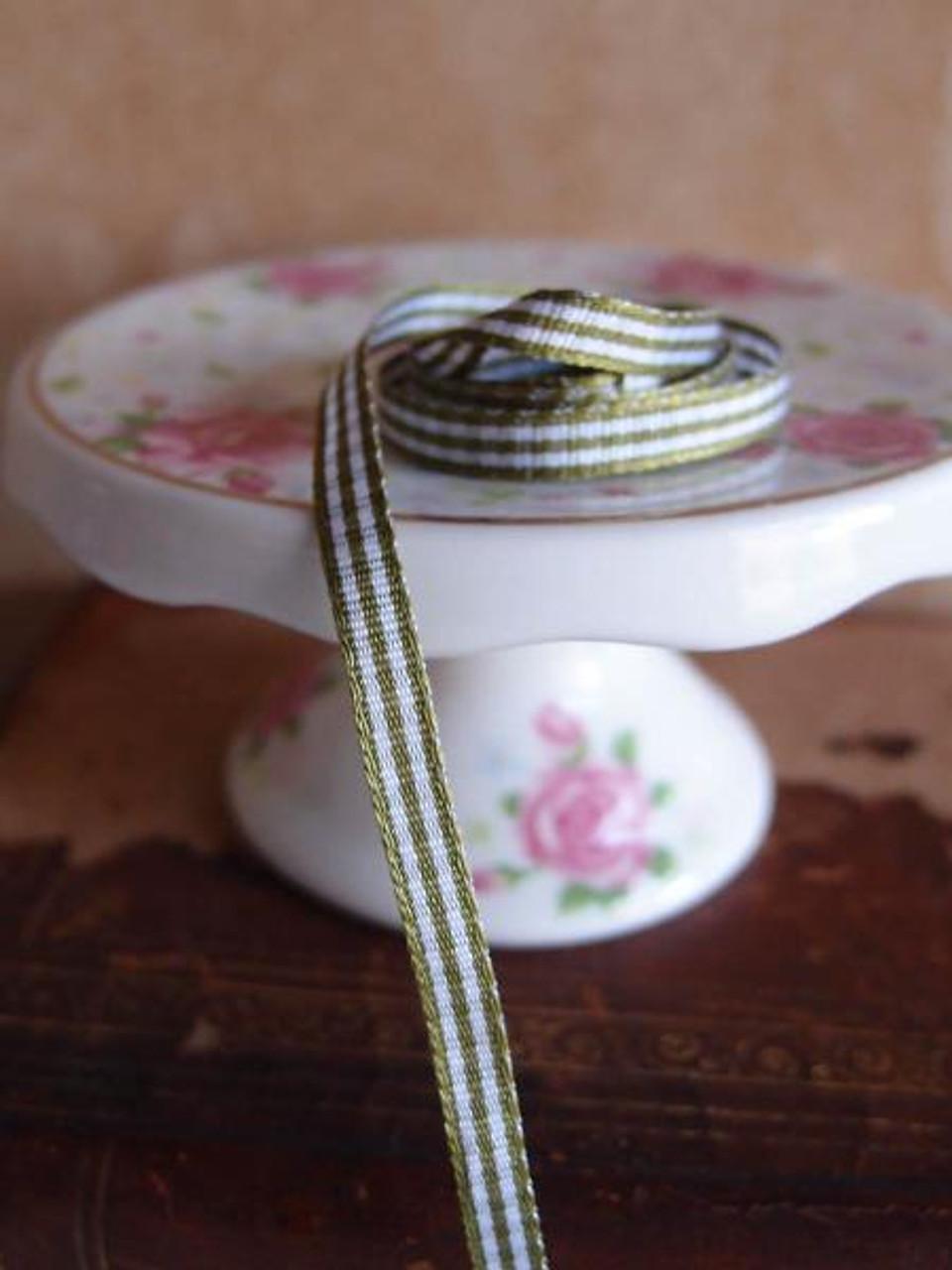 Moss & White Gingham Checkered Ribbon (2 sizes)