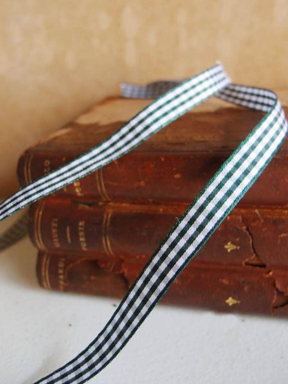 Hunter Green & White Gingham Checkered Ribbon (2 sizes)