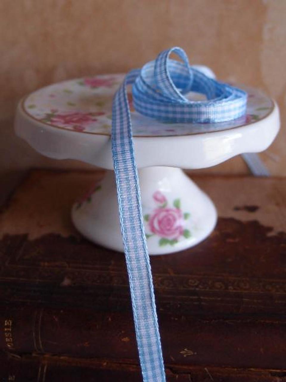 Light Blue  & White Gingham Checkered Ribbon (2 sizes)