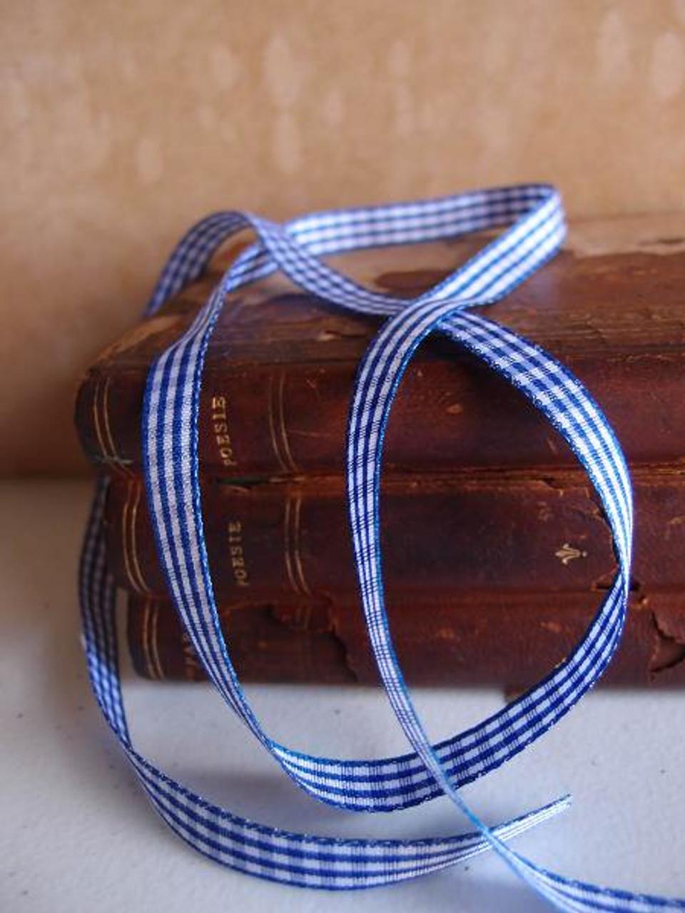 Royal Blue & White Gingham Checkered Ribbon (2 sizes)
