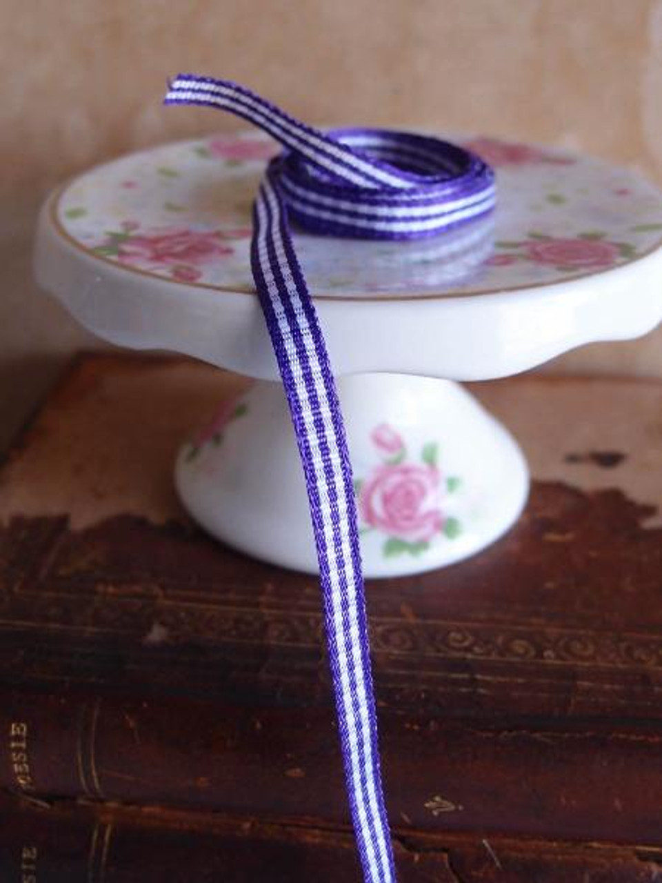 Purple & White Gingham Checkered Ribbon (2 sizes)