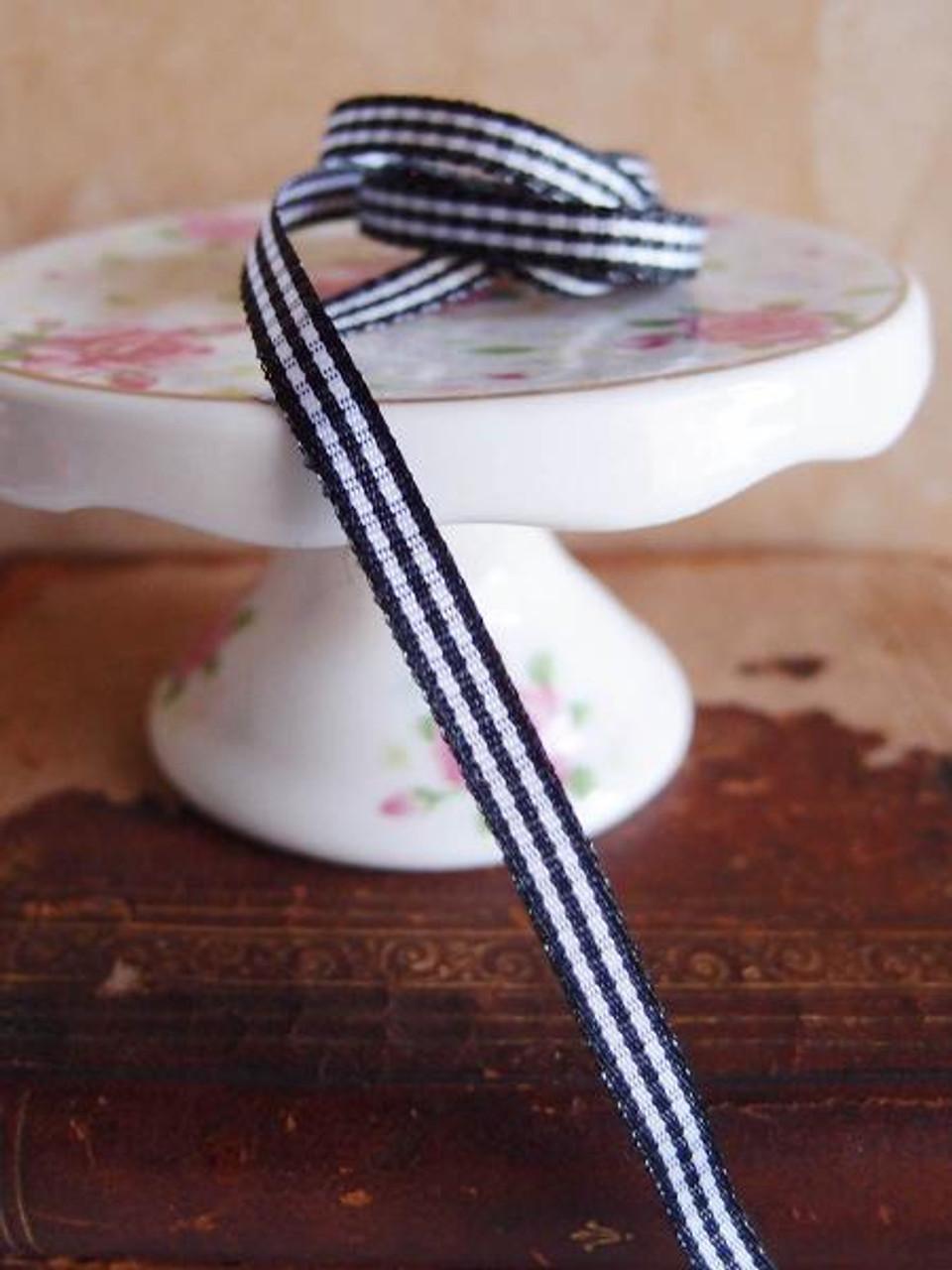Black & White Gingham Checkered Ribbon (2 sizes)