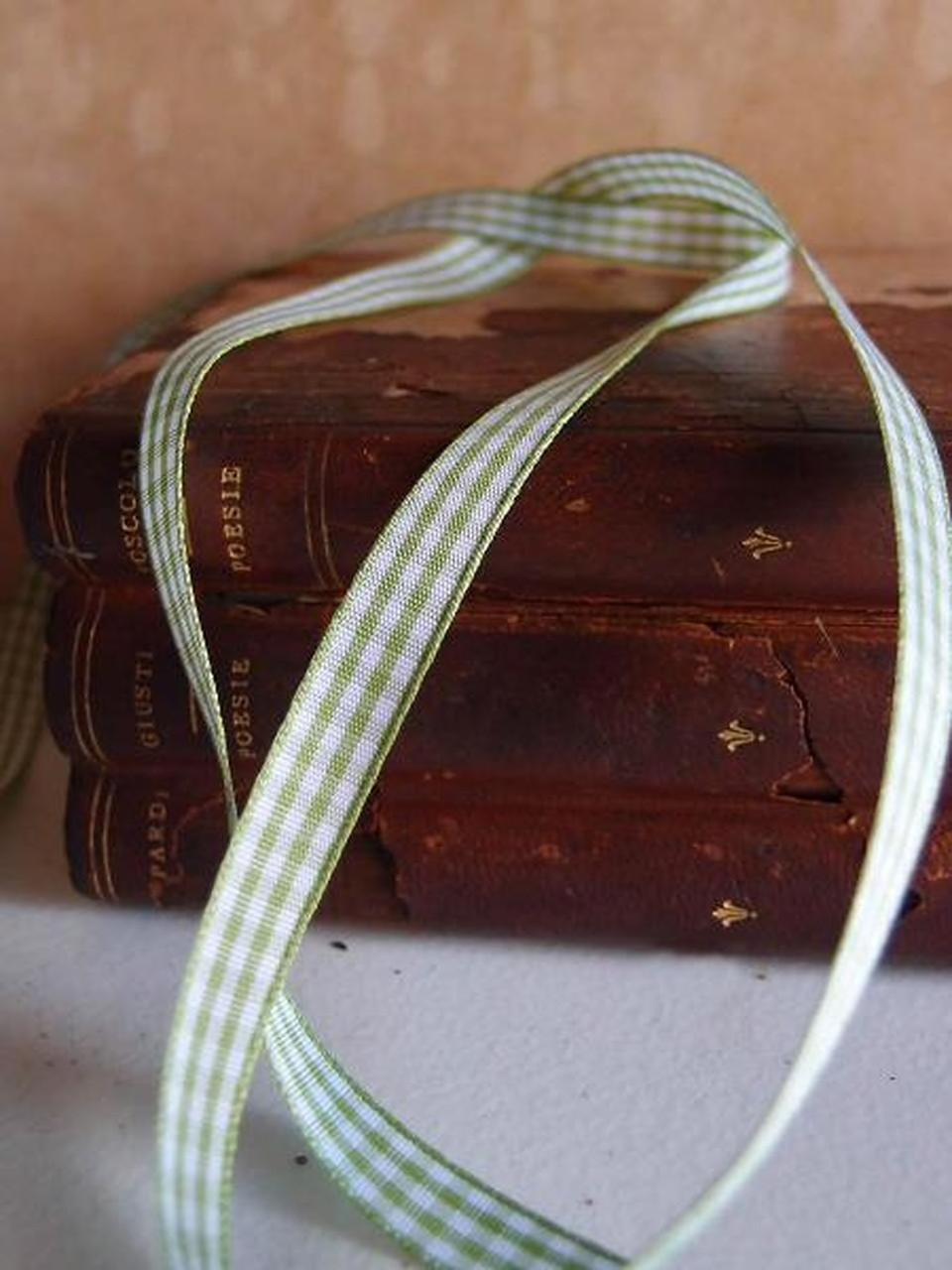 Wholesale Checkered Ribbon, Wholesale Gingham Ribbon, Mint & White Gingham Checkered Ribbon 034-37 | Packaging Decor