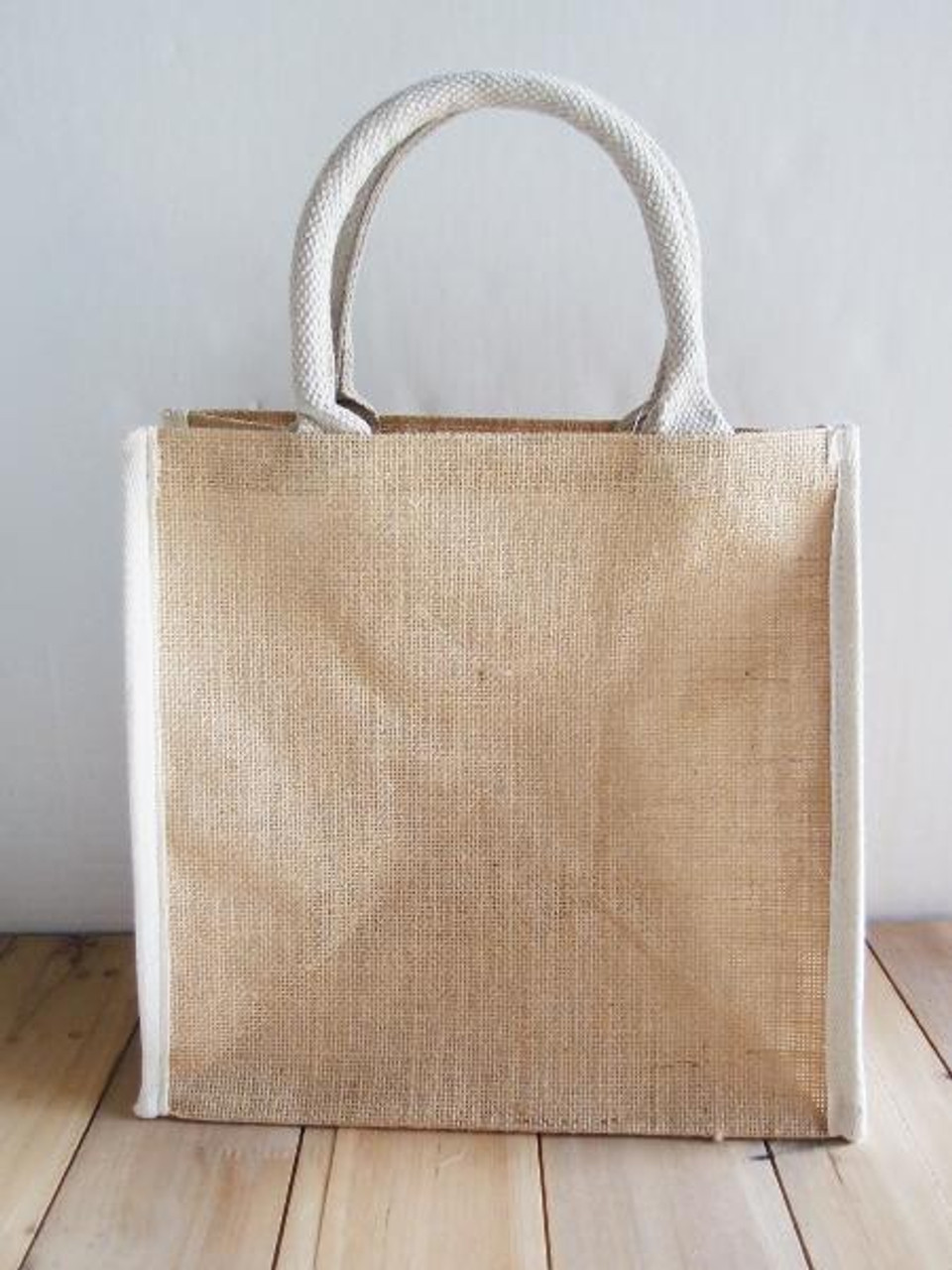 """Wholesale Jute Tote Bags for Weddings and Events, Jute Tote Bag with White Cotton Trim 12"""" W x 12"""" H x 7 3/4"""" Gusset , B875-71"""