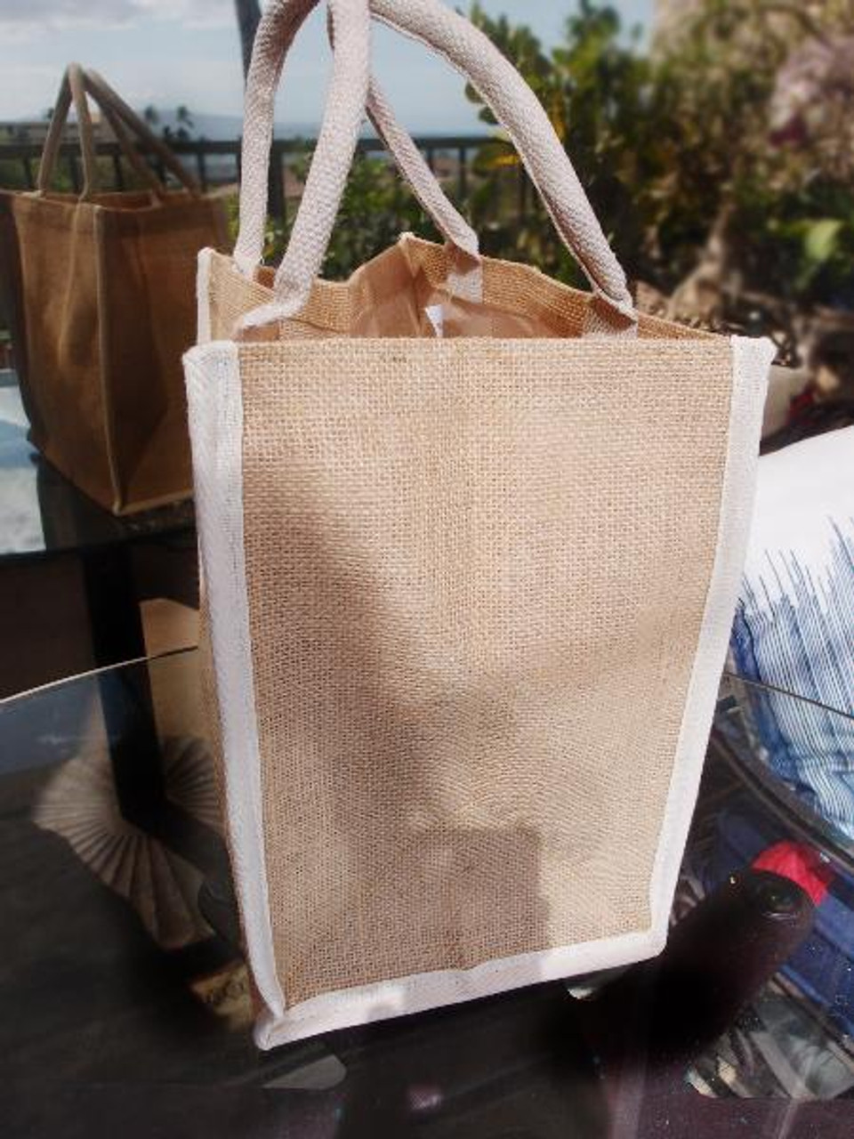"""Wholesale Gift Packaging Supplier, Jute Tote Bag with White Cotton Trim 12"""" W x 12"""" H x 7 3/4"""" Gusset , B875-71"""