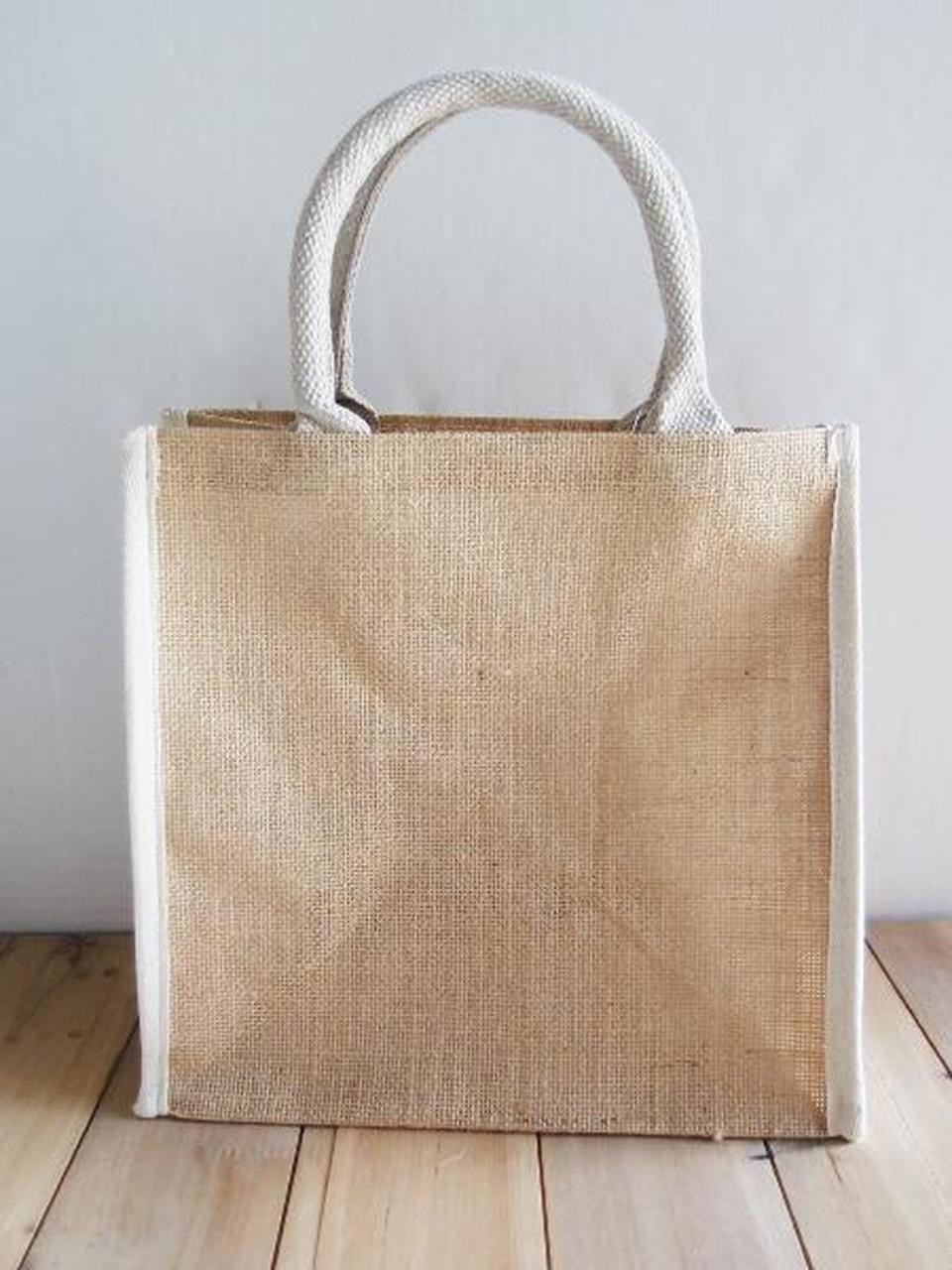 """Wholesale Jute Tote Bags, Jute Tote Bag with White Cotton Trim 12"""" W x 12"""" H x 7 3/4"""" Gusset , B875-71 