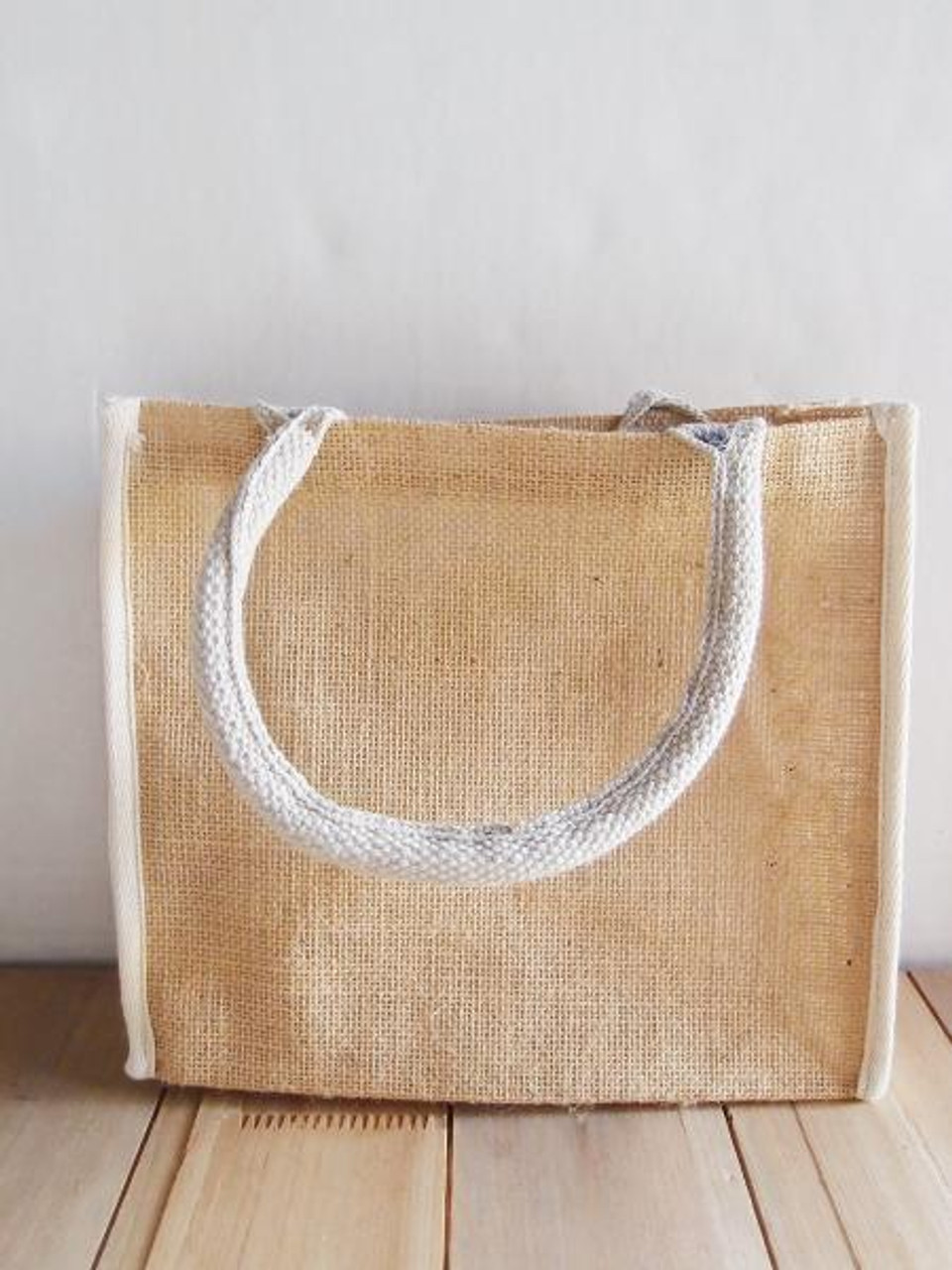 """Wholesale Jute Tote Bags for Weddings and Events, Jute Tote with White Cotton Trim 10 1/4"""" W x 9"""" H x 3"""" Gusset, B874-71"""