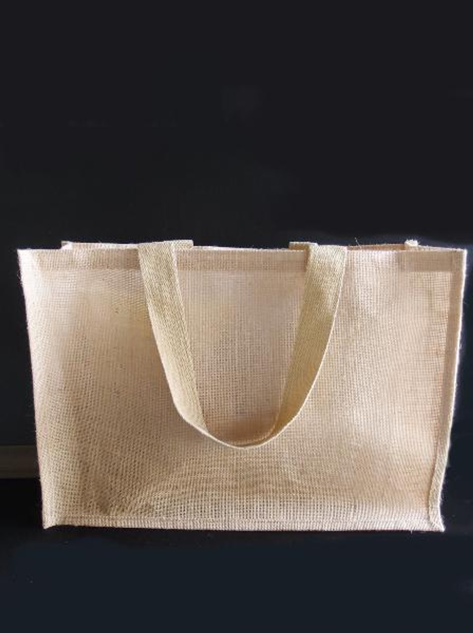 Wholesale Burlap Tote Bags, Jute Tote with Strap Handles 20 x 13.5 x 6 inches  (B879-21) | Packaging Decor