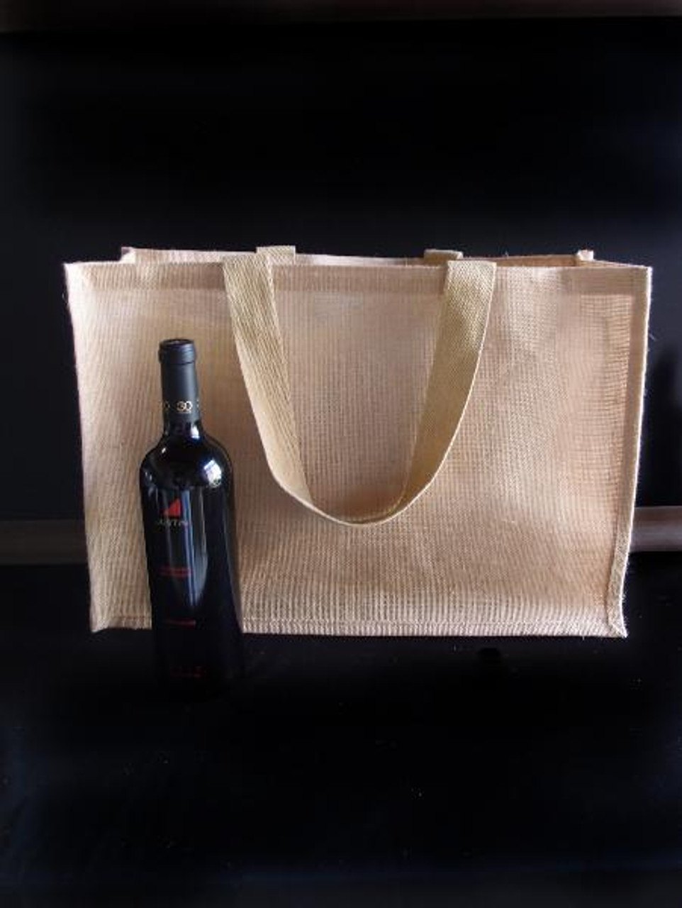Jute Tote with Strap Handles 20 x 13.5 x 6 inches B879-21, Jute Tote Bags, Wholesale Burlap Tote Bags