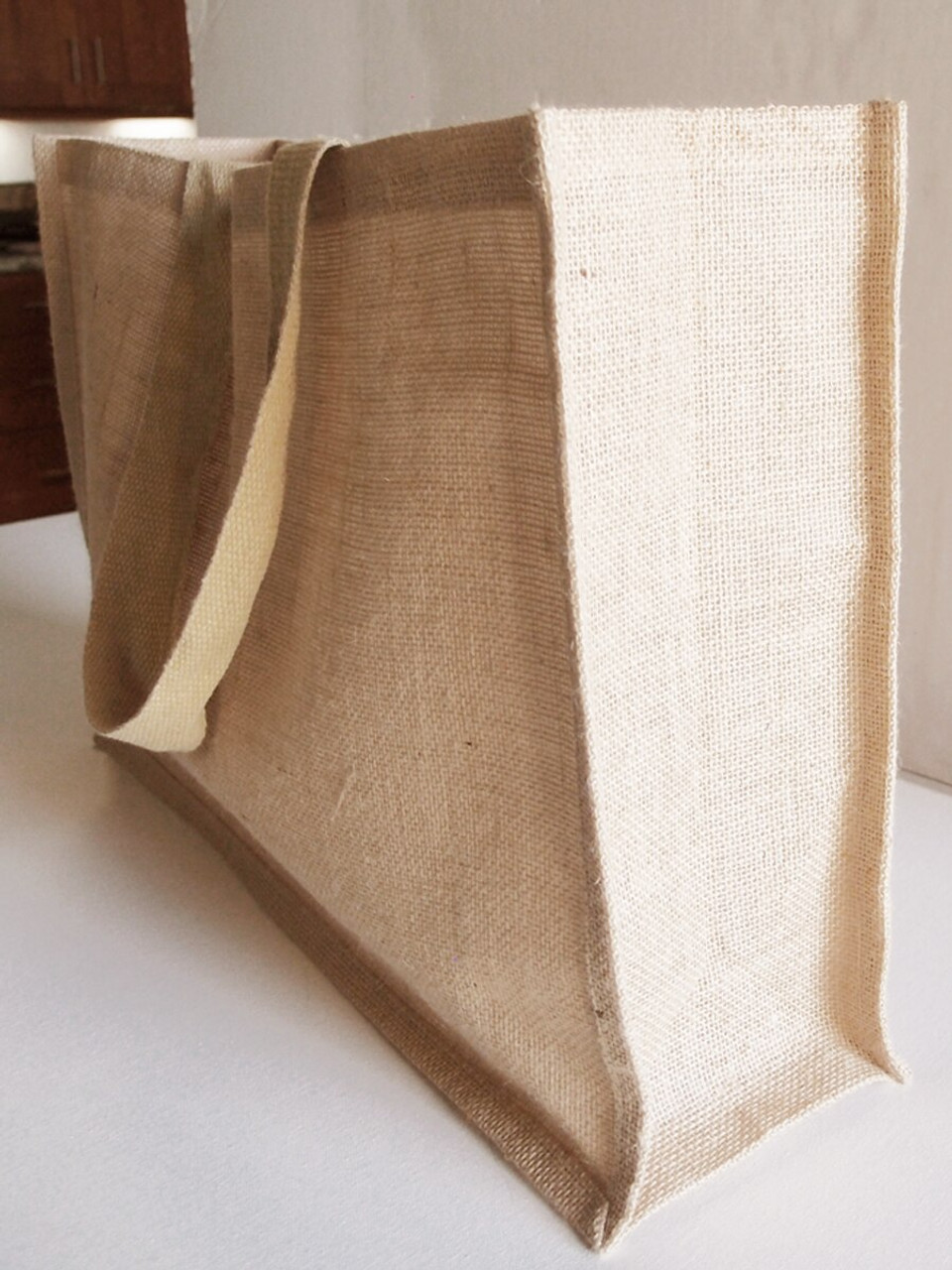Large Burlap Tote Bags Wholesale, Jute Tote Bags, Jute Tote with Strap Handles 20 x 13.5 x 6 inches  (B879-21)