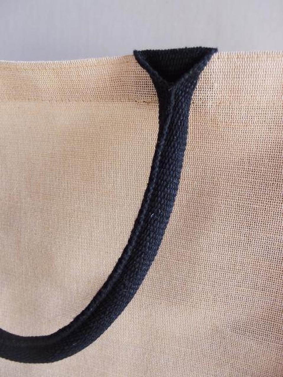 """Our Jute Blend Tall Tote with Black Trim  13"""" W x 18"""" H x 8"""" D (B909-79) features sturdy black handles."""