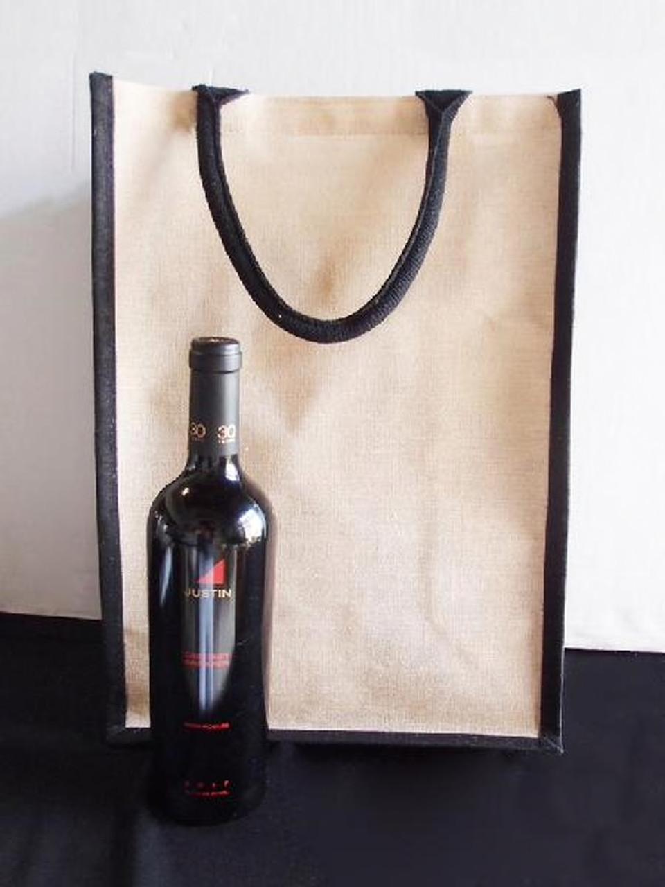 Jute Tote Bag with Black Trim as Wine Tote Bag, Wholesale Tote Bags