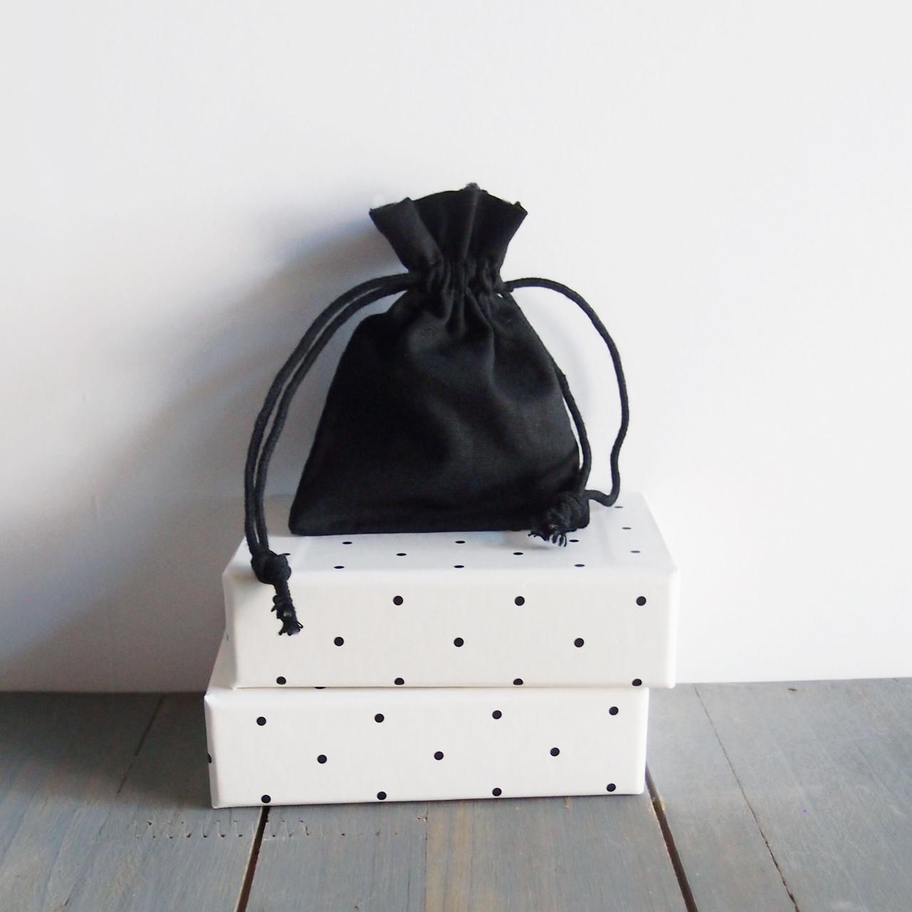 Black Cotton Drawstring Bags 3 x 4 inches, Wholesale Black Drawstring Bags | Packaging Decor