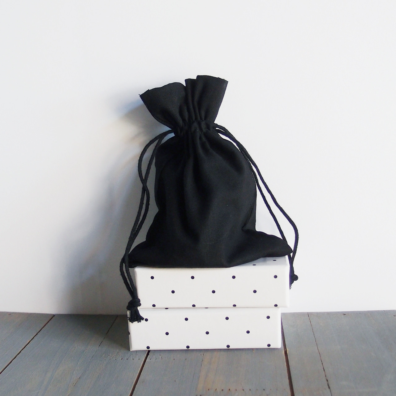Black Cotton Drawstring Bags 5 x 7 inches, Wholesale Black Drawstring Bags | Packaging Decor