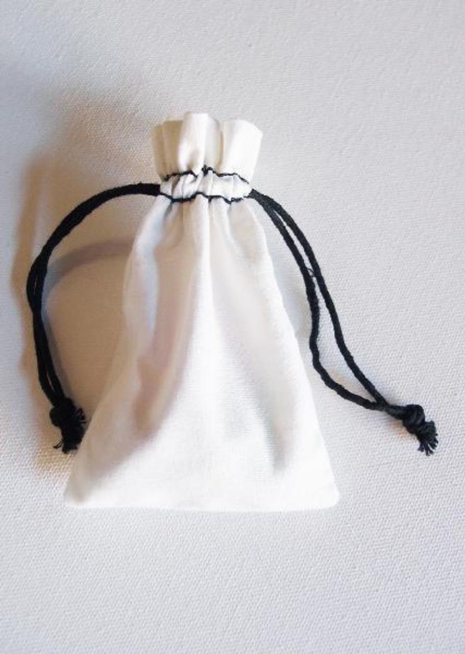 White Cotton Natural Drawstrings Bag with Black Stitching (10 sizes)