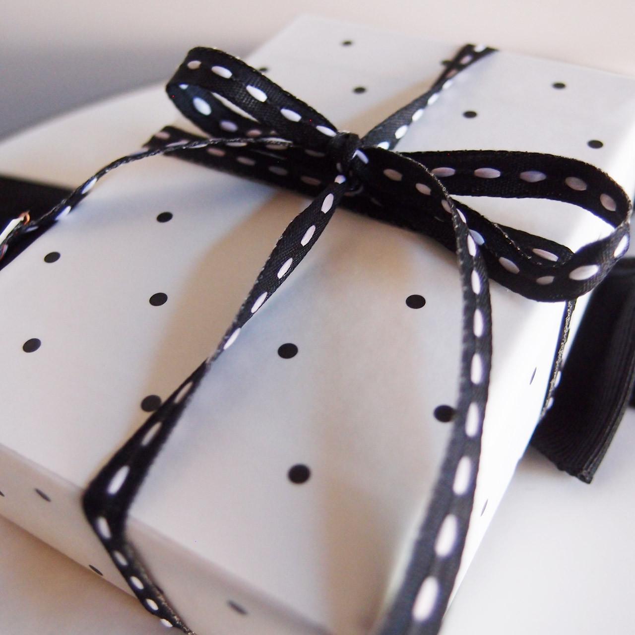 Black with White Center Stitch Grosgrain Ribbon