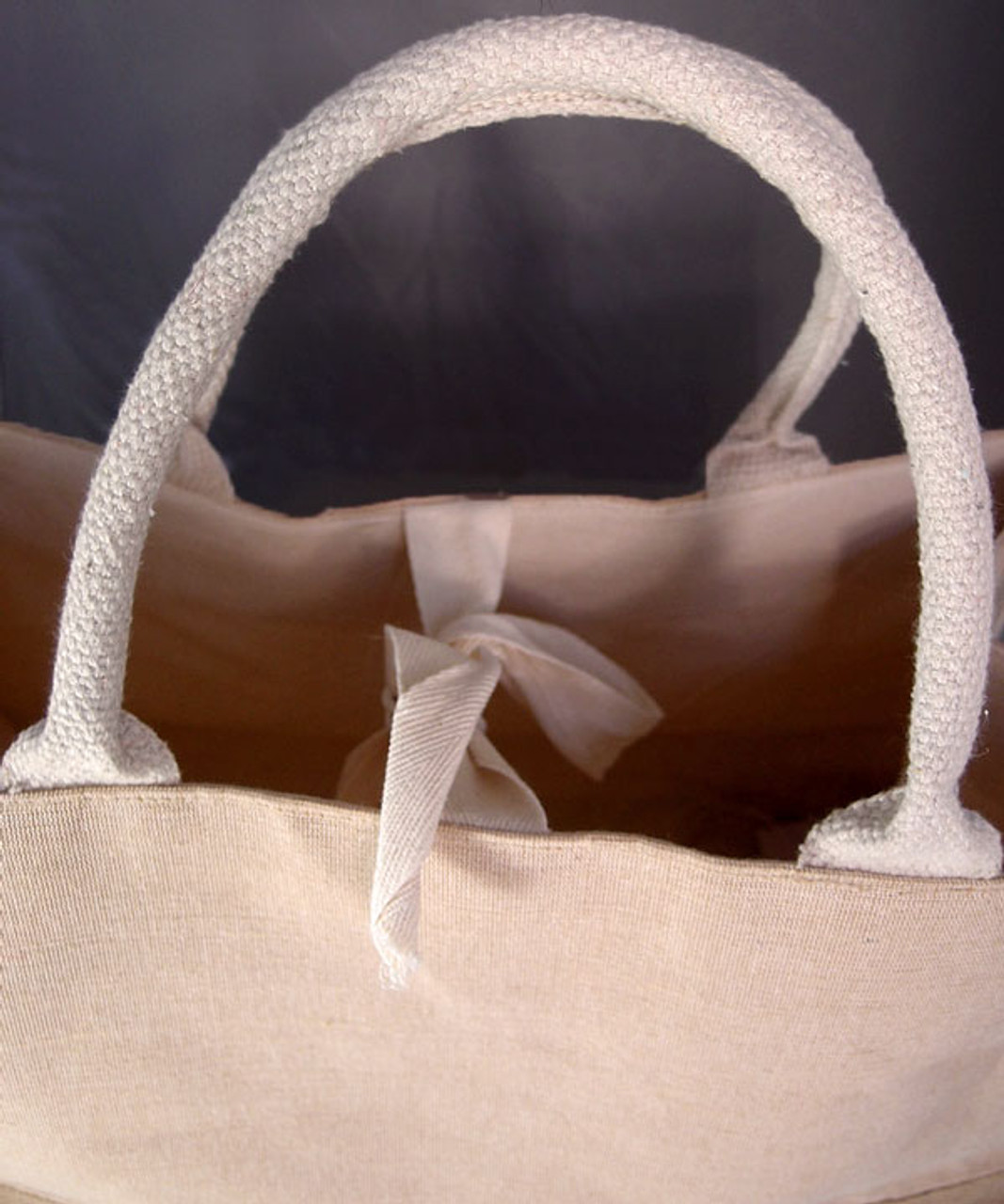 Jute Cotton Blend Tote with Natural Cotton and Burlap Accents