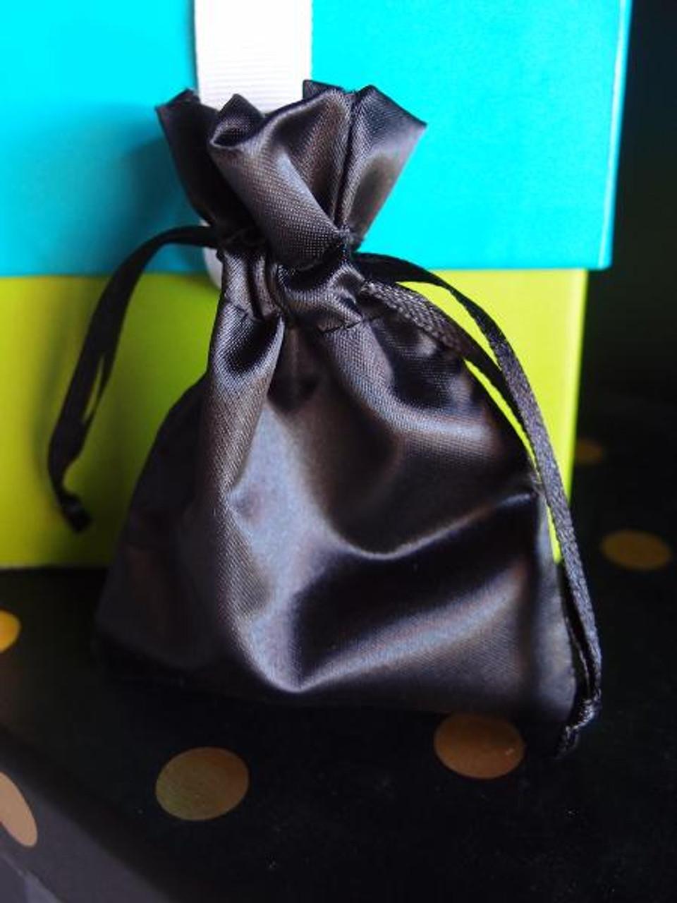 Black Satin Bag with Satin Ribbon String (2 sizes)