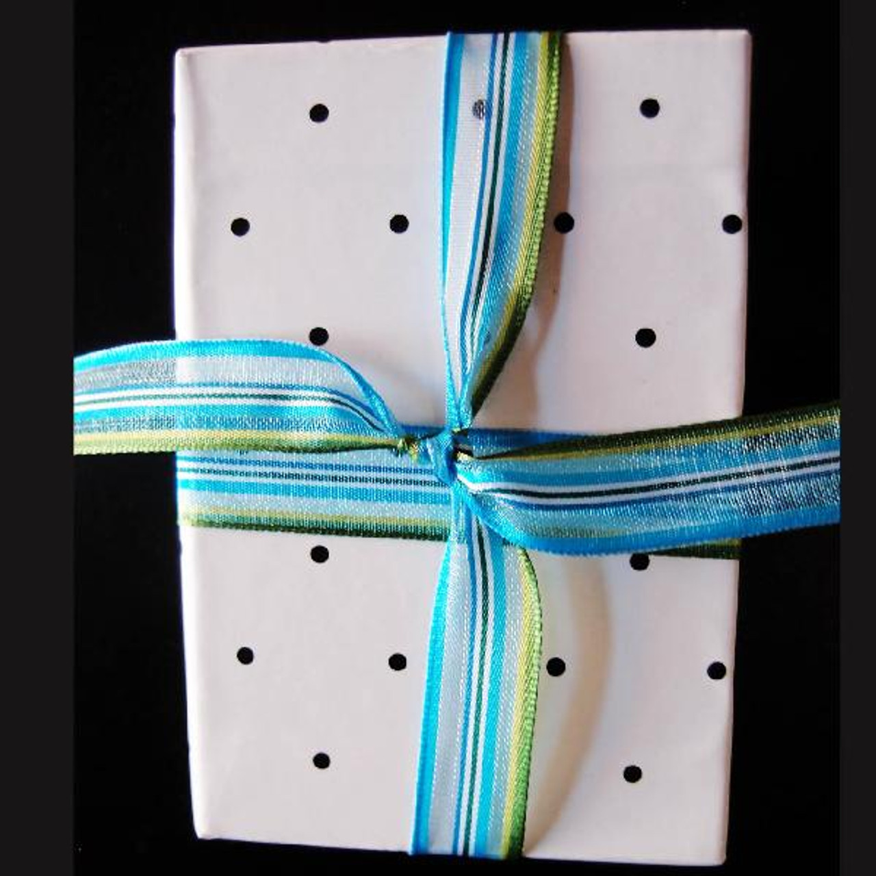 White-Blue-Green Multi-Stripes Sheer Ribbon