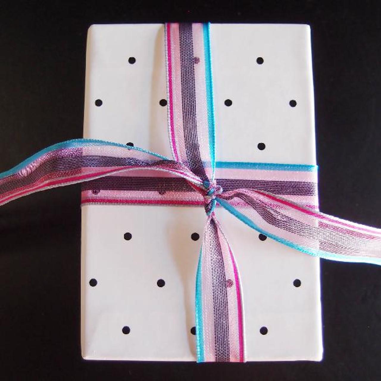 Pink-Hot Pink-Blue Multi-Stripes Sheer Ribbon