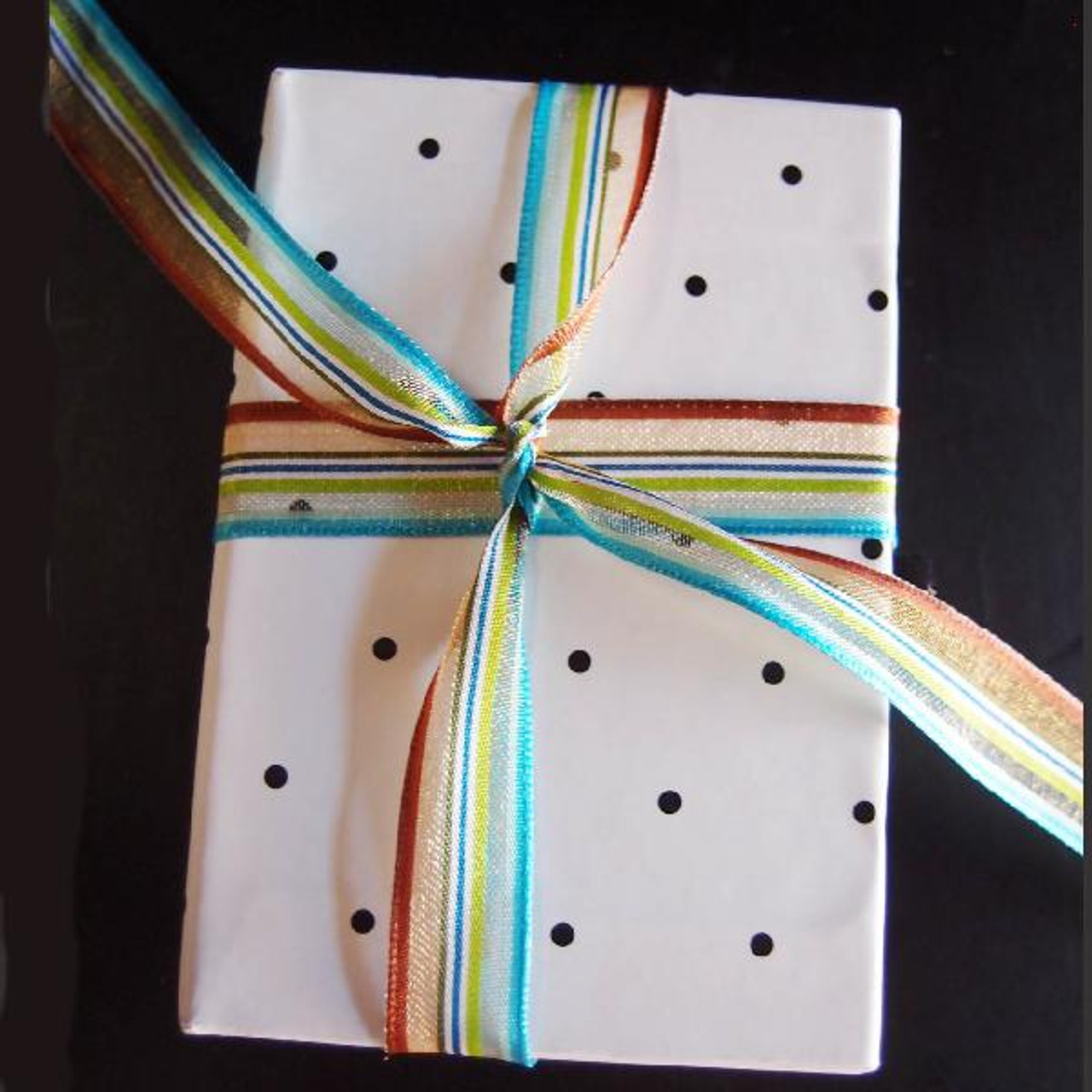 Brown-Green-White-Blue Multi-Stripes Sheer Ribbon