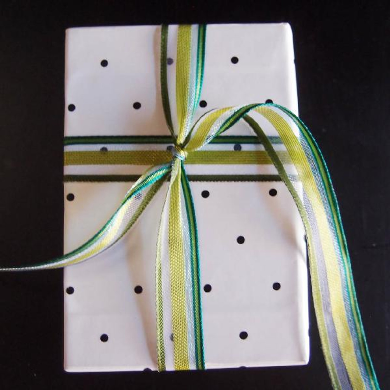 Green-Blue-Clear Multi-Stripes Sheer Ribbon