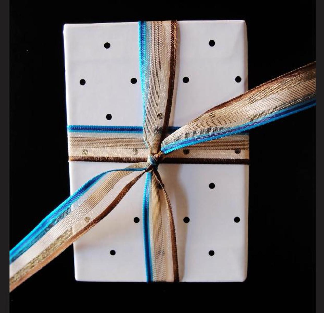 Brown-Blue-Ivory Multi-Stripes Sheer Ribbon