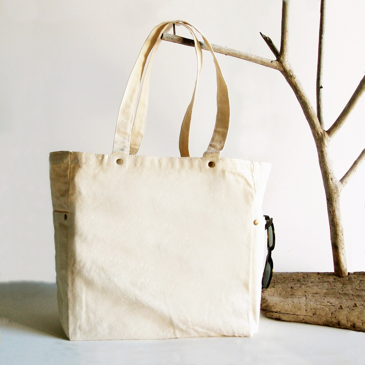 Wholesale Canvas Tote Bags, Washed Canvas Tote Bag with Side Pockets Natural B798-71   Packaging Decor