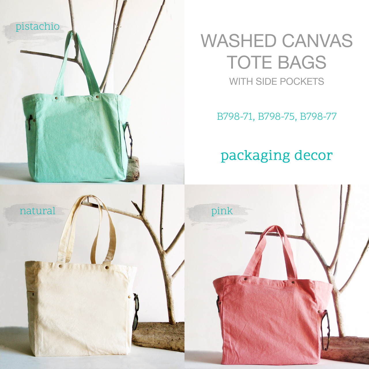 Washed Canvas Tote Bags, Wholesale Canvas Tote Bags, Natural Cotton Totes | Packaging Decor