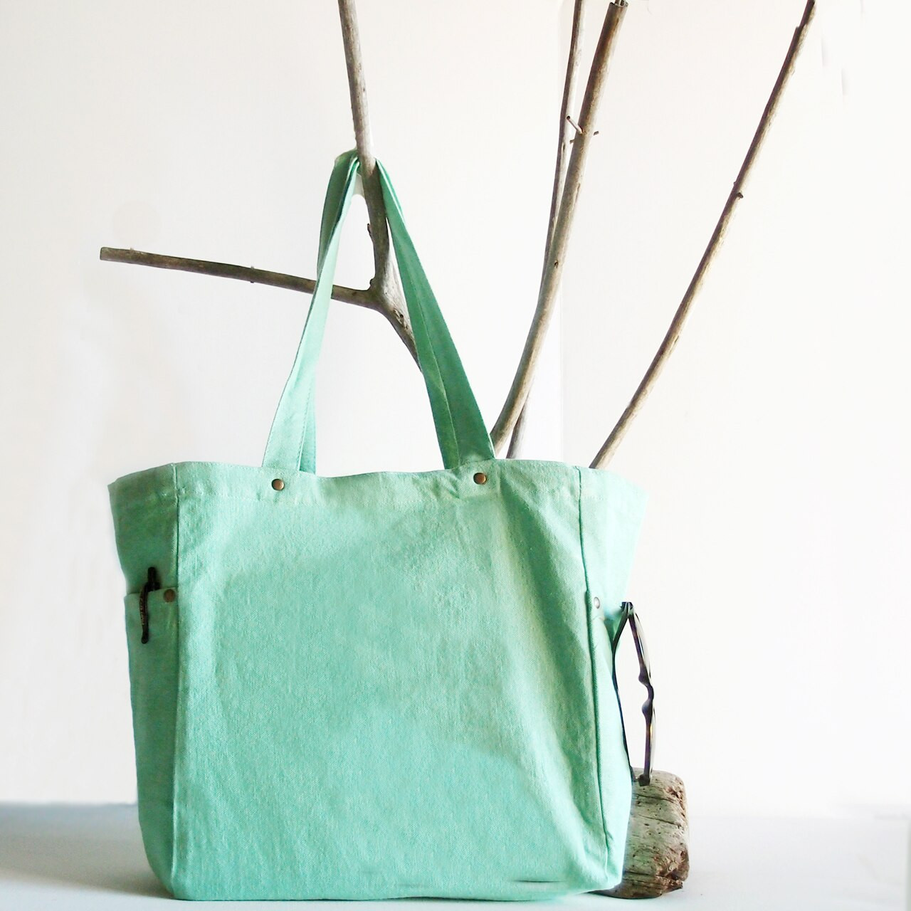 Wholesale Canvas Tote Bags, Washed Canvas Tote Bag with Side Pockets Pistachio B798-77   Packaging Decor
