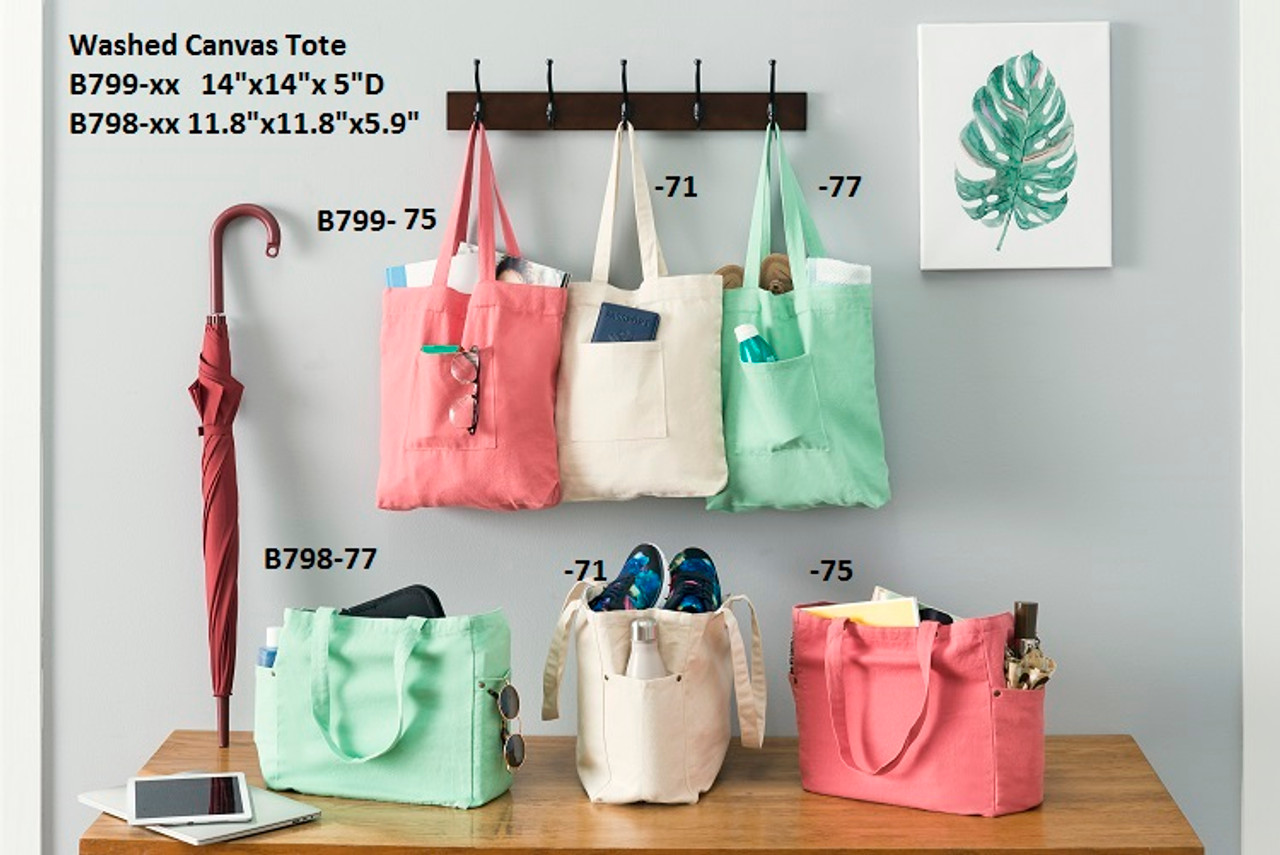 """Washed Canvas Tote Bag with Side Pockets Pistachio 11.8"""" x 11.8"""" x 5.9""""D"""