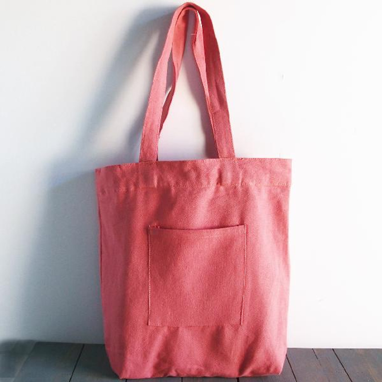 """Wholesale Canvas Tote Bags, Washed Canvas Tote Bag with Side Pockets Pink 14"""" x 14"""" x 5""""D, B799-75 