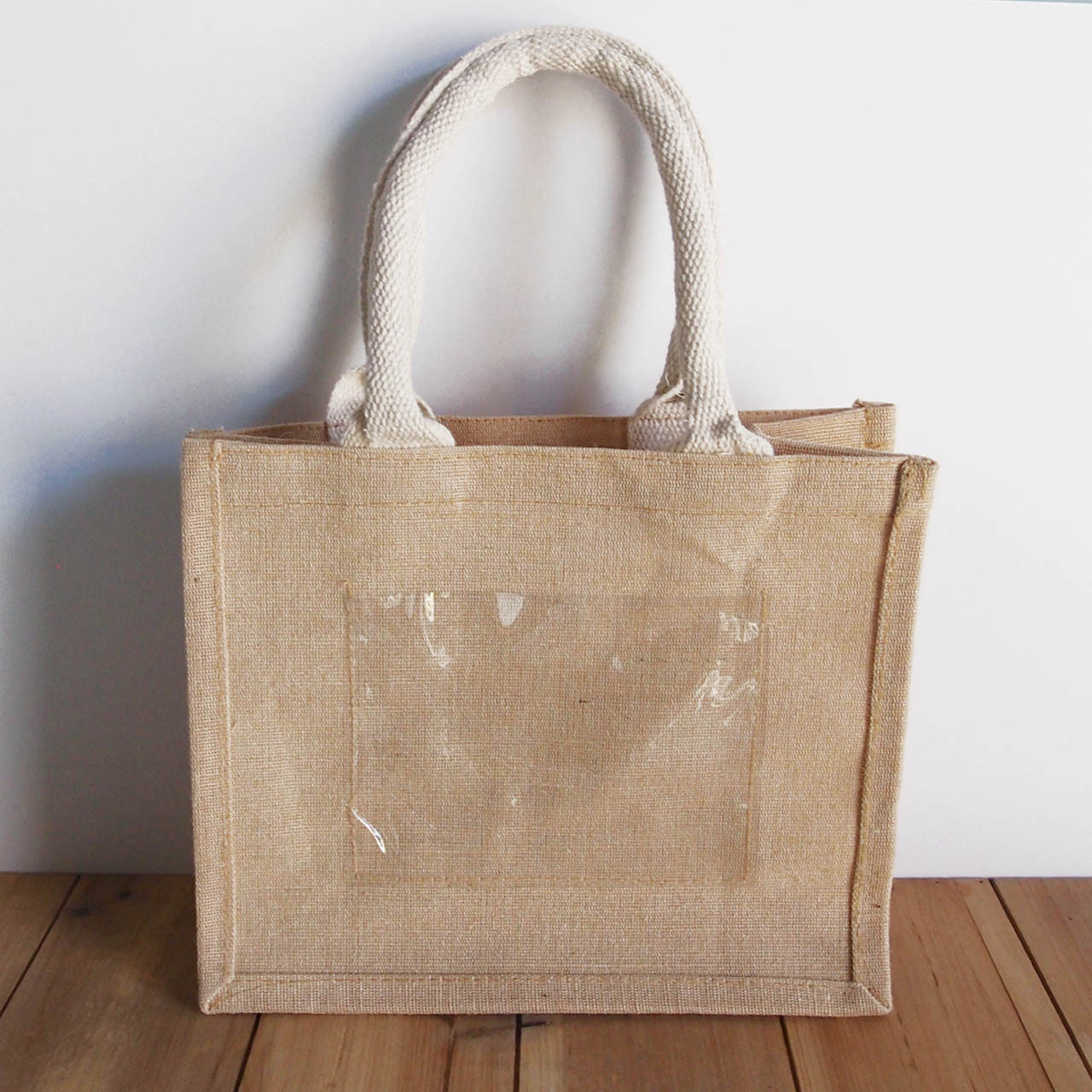 """Jute Blend Tote with Photo Pocket 10"""" x 8"""" x 5"""" White Handles"""