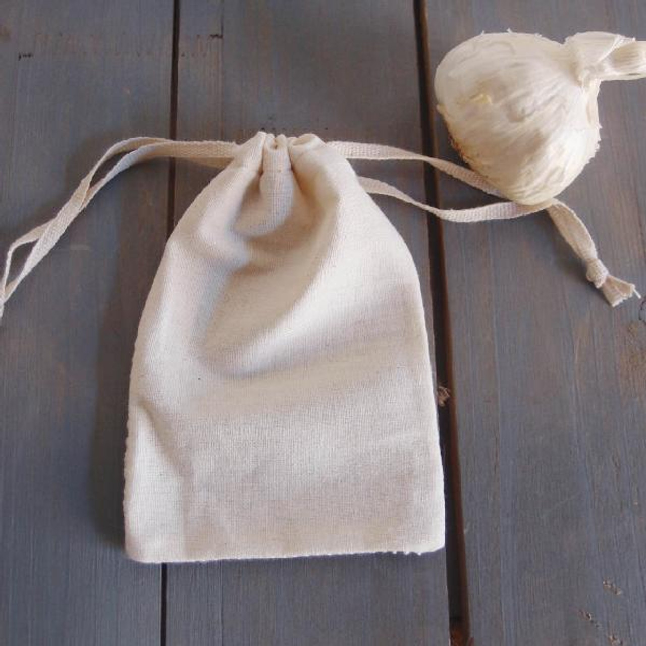 Cotton Net Drawstring Bag with Fabric Backing  (3 sizes)