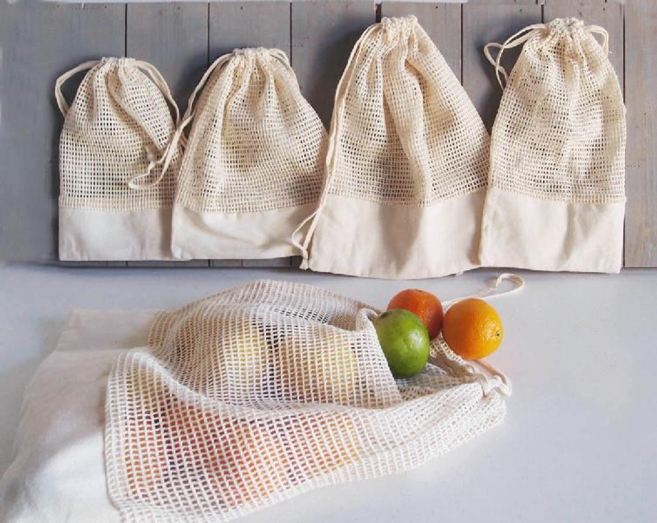 Cotton Net Drawstring Bag with Fabric Trim Bottom (5 sizes)