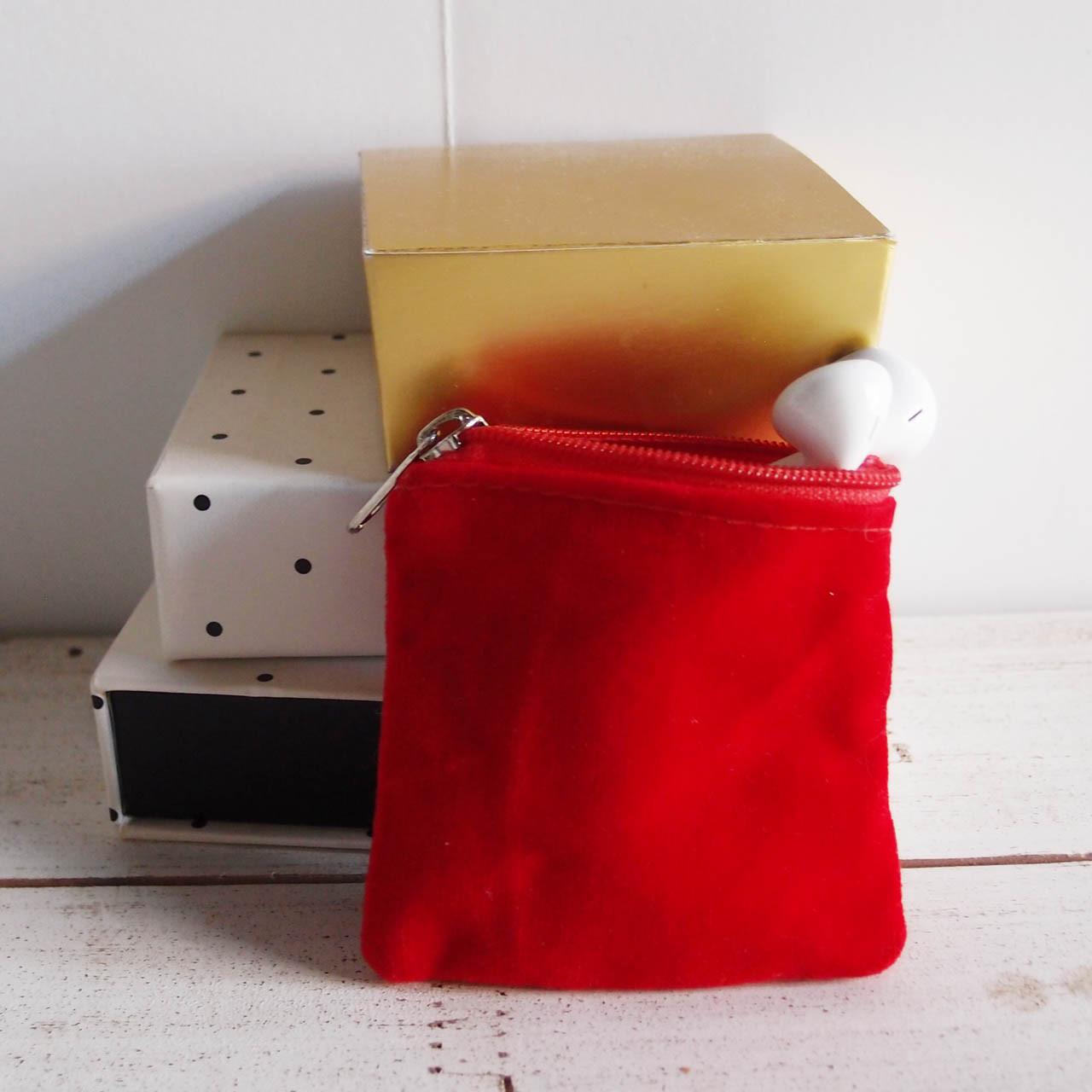 Red Velvet with Red Zippered Bag (3 sizes)