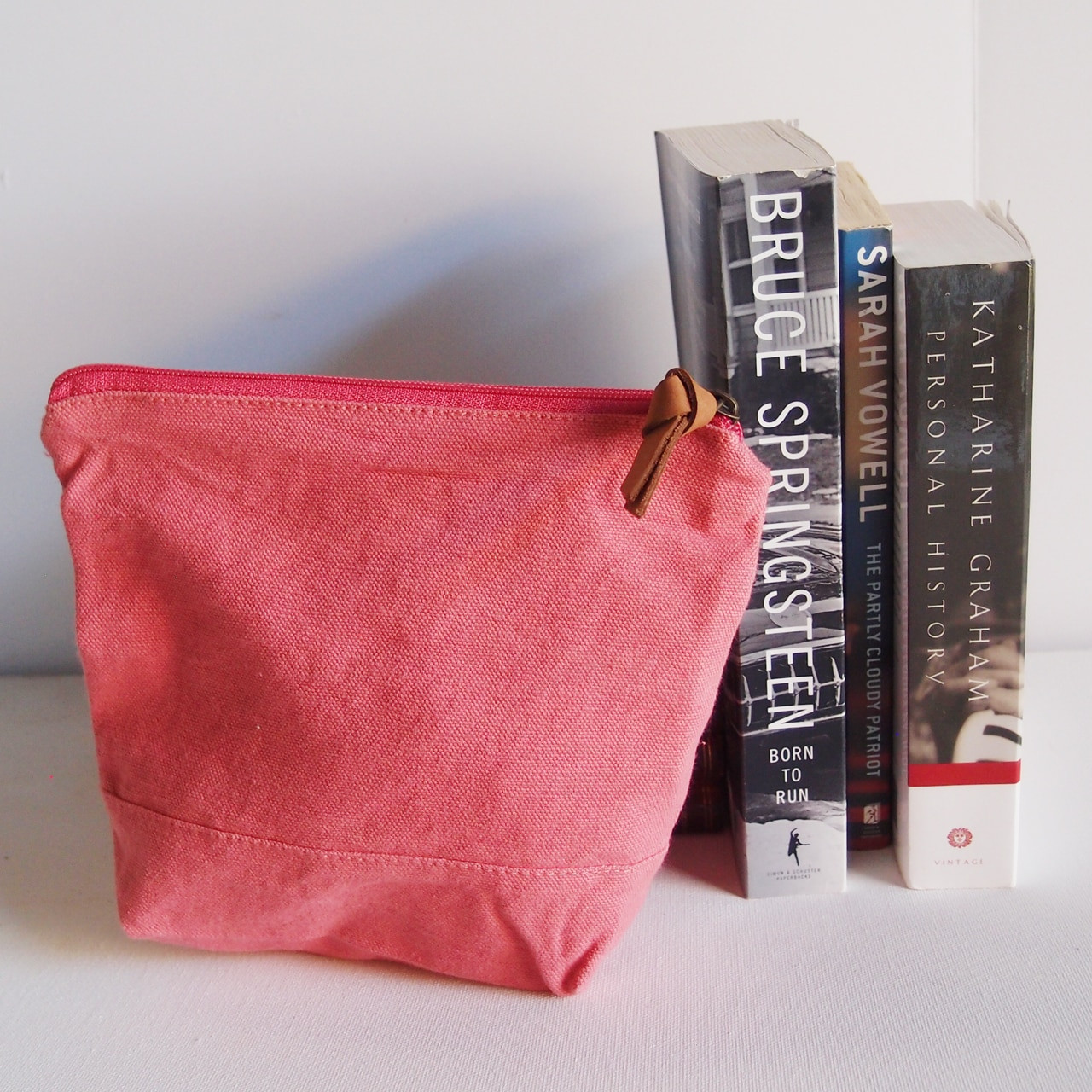 """Wholesale Zippered Pouches, Washed Canvas Zipper Pouch with Leather Puller Pink 8"""" x 6.3"""" x 2.4"""" Gusset B686-75, Cotton Zipper Pouch Supplier 