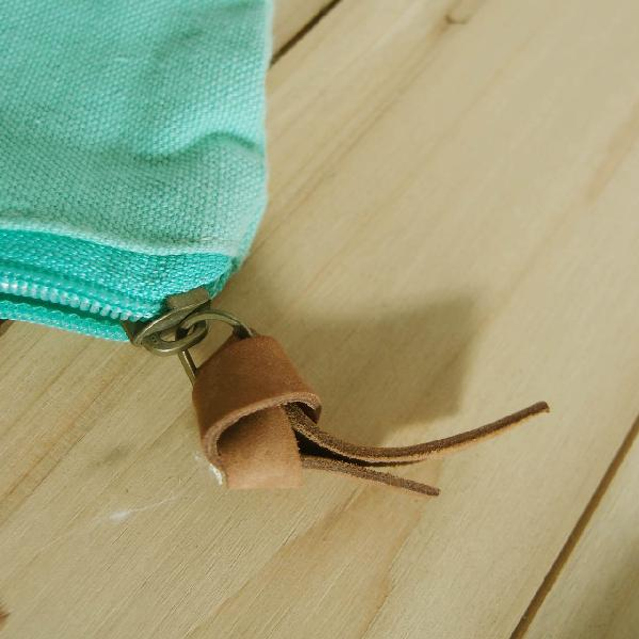 """Washed Canvas Zipper Pouch with Leather Puller Mint Green 8"""" W x 6.3"""" L x 2.4"""" Gusset (B686-77)"""