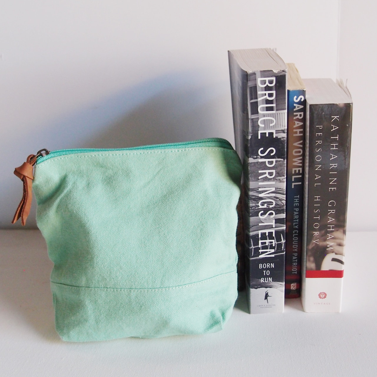 """Wholesale Zippered Pouches, Washed Canvas Zipper Pouch with Leather Puller Mint Green 8"""" x 6.3"""" x 2.4"""" Gusset B686-77, Cotton Zipper Pouch Supplier 