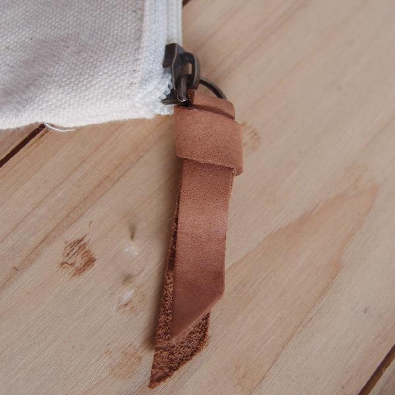 "Close up of the leather puller. Washed Canvas Zipper Pouch with Leather Puller Natural 8"" x 6.3"" x 2.4"",  B686-71"