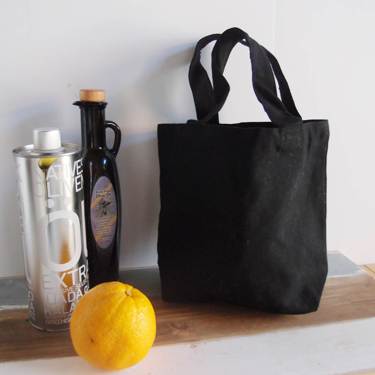 """Small Cotton Canvas Tote Bag Black with Black Handles 9 1/2"""" W x 8"""" H x 3"""" Gusset"""