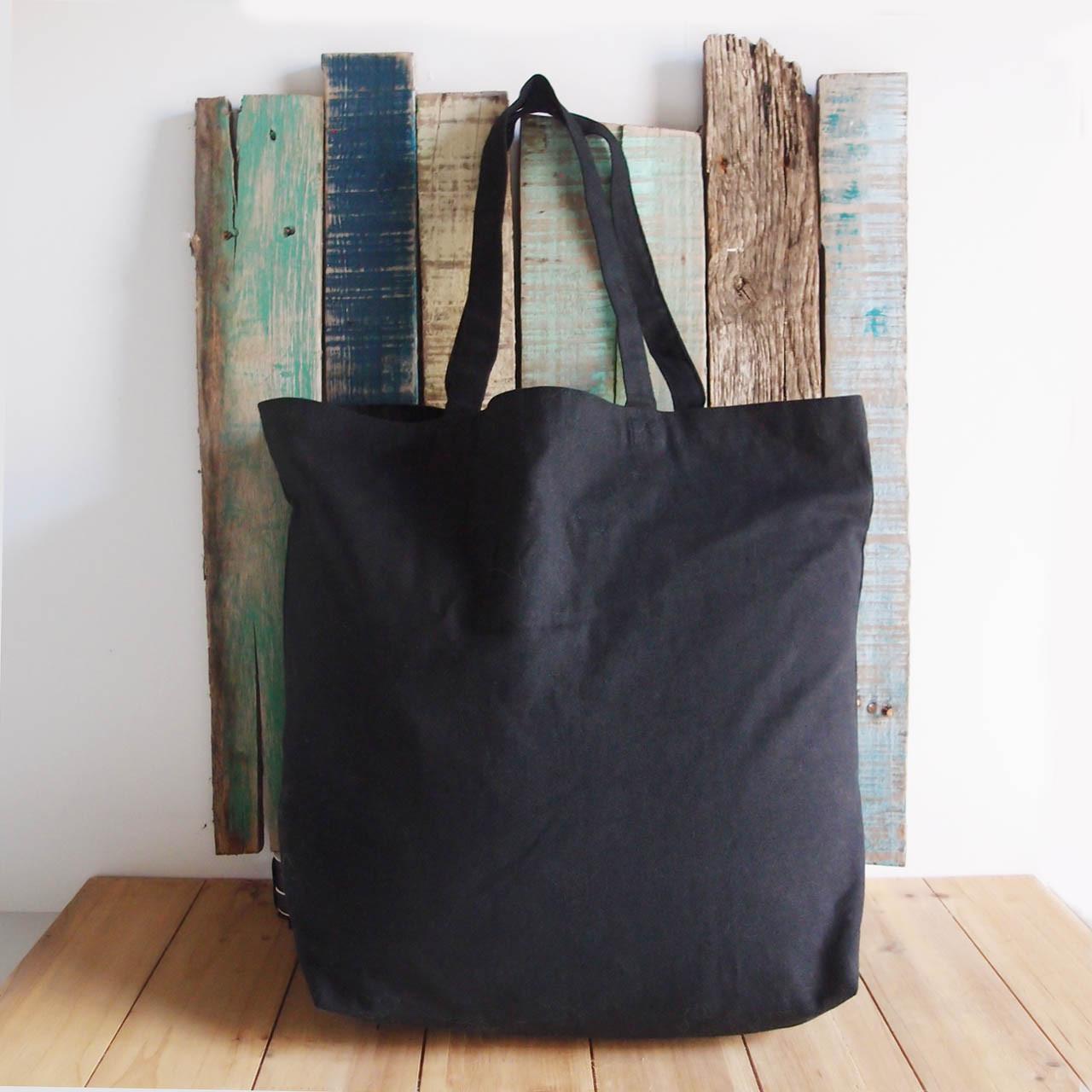 "Black Cotton Canvas Tote Bag 18"" W x 15"" H x 5.75"" Gusset"