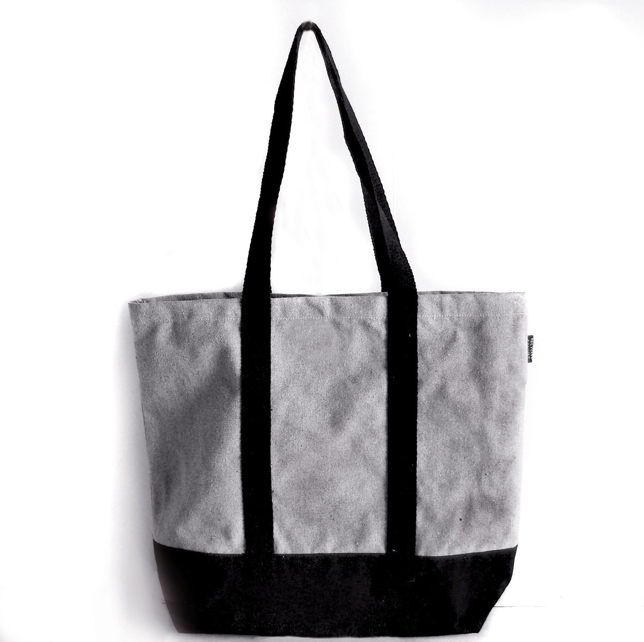 """Gray Recycled Canvas Tote with Black Band 18""""W x 15""""H x 5 3/4"""" Gusset"""